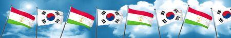 Tajikistan flag with South Korea flag, 3D rendering