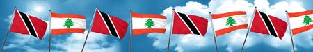 Trinidad and tobago flag with Lebanon flag, 3D rendering