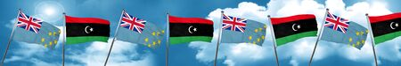 tuvalu: Tuvalu flag with Libya flag, 3D rendering