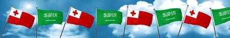 tonga: Tonga flag with Saudi Arabia flag, 3D rendering