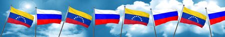 Venezuela flag with Russia flag, 3D rendering