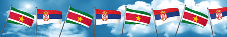 Suriname flag with Serbia flag, 3D rendering