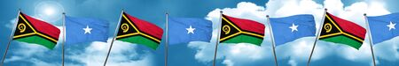 Vanatu flag with Somalia flag, 3D rendering