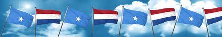 Somalia flag with Netherlands flag, 3D rendering