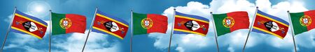 Swaziland flag with Portugal flag, 3D rendering Stock Photo