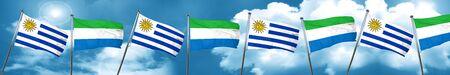 bandera de uruguay: Bandera de Uruguay con la bandera de Sierra Leona, representación 3D