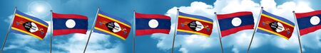 Swaziland flag with Laos flag, 3D rendering Stock Photo