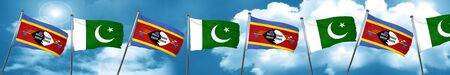 flag of pakistan: Swaziland flag with Pakistan flag, 3D rendering Stock Photo