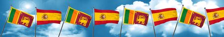 Sri lanka flag with Spain flag, 3D rendering