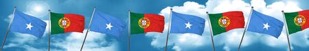 Somalia flag with Portugal flag, 3D rendering Stock Photo