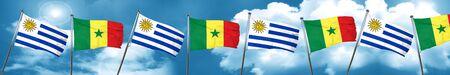 bandera de uruguay: Uruguay flag with Senegal flag, 3D rendering