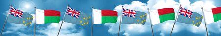 Tuvalu flag with Madagascar flag, 3D rendering