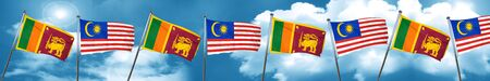 Sri lanka flag with Malaysia flag, 3D rendering