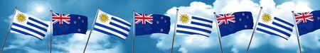 bandera de uruguay: Uruguay flag with New Zealand flag, 3D rendering