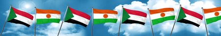 Sudan: Sudan flag with Niger flag, 3D rendering