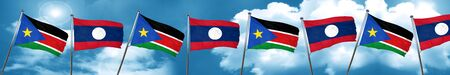 south sudan flag with Laos flag, 3D rendering Stock Photo