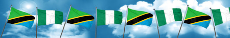 country nigeria: Tanzanian flag with Nigeria flag, 3D rendering Stock Photo
