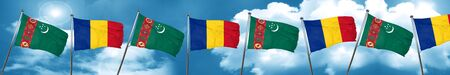 Turkmenistan flag with Romania flag, 3D rendering Stock Photo