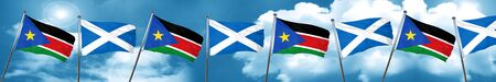 south sudan flag with Scotland flag, 3D rendering