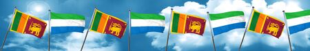 Sri lanka flag with Sierra Leone flag, 3D rendering Stock Photo