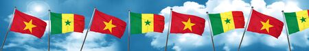 Vietnam flag with Senegal flag, 3D rendering