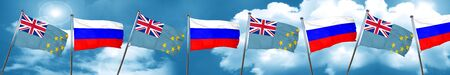 Tuvalu flag with Russia flag, 3D rendering Stock Photo