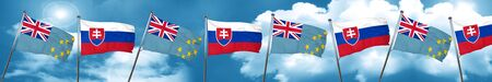 Tuvalu flag with Slovakia flag, 3D rendering Stock Photo