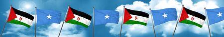 Western sahara flag with Somalia flag, 3D rendering