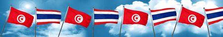 Tunesia flag with Thailand flag, 3D rendering Stock Photo