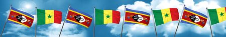 Swaziland flag with Senegal flag, 3D rendering Stock Photo