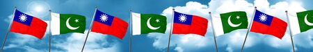 flag of pakistan: Taiwan flag with Pakistan flag, 3D rendering Stock Photo