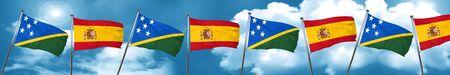 solomon: Solomon islands flag with Spain flag, 3D rendering Stock Photo
