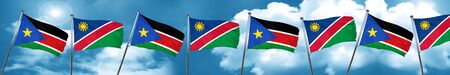 south sudan flag with Namibia flag, 3D rendering Stock Photo