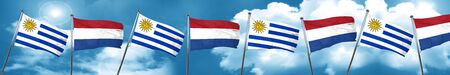 bandera de uruguay: Uruguay flag with Netherlands flag, 3D rendering Foto de archivo