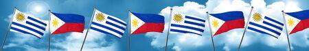 bandera de uruguay: Uruguay flag with Philippines flag, 3D rendering