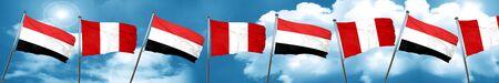 bandera de peru: Yemen flag with Peru flag, 3D rendering Foto de archivo