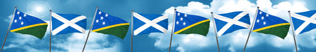 Solomon islands flag with Scotland flag, 3D rendering