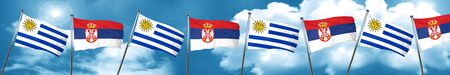 bandera de uruguay: Bandera de Uruguay con la bandera de Serbia, 3D Foto de archivo