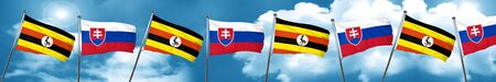 Uganda flag with Slovakia flag, 3D rendering Stock Photo
