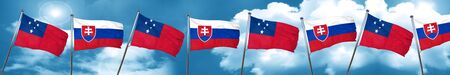 Samoa flag with Slovakia flag, 3D rendering