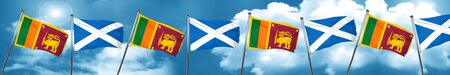 Sri lanka flag with Scotland flag, 3D rendering