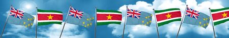 Tuvalu flag with Suriname flag, 3D rendering