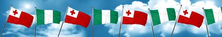 country nigeria: Tonga flag with Nigeria flag, 3D rendering