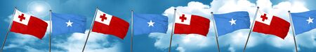Tonga flag with Somalia flag, 3D rendering