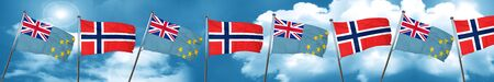 Tuvalu flag with Norway flag, 3D rendering Stock Photo