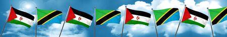 tanzania: Western sahara flag with Tanzania flag, 3D rendering