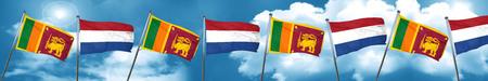 netherlands flag: Sri lanka flag with Netherlands flag, 3D rendering