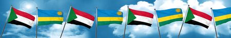 Sudan flag with rwanda flag, 3D rendering Stock Photo
