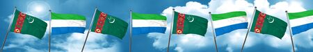 sierra: Turkmenistan flag with Sierra Leone flag, 3D rendering