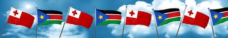 Tonga flag with South Sudan flag, 3D rendering Stock Photo